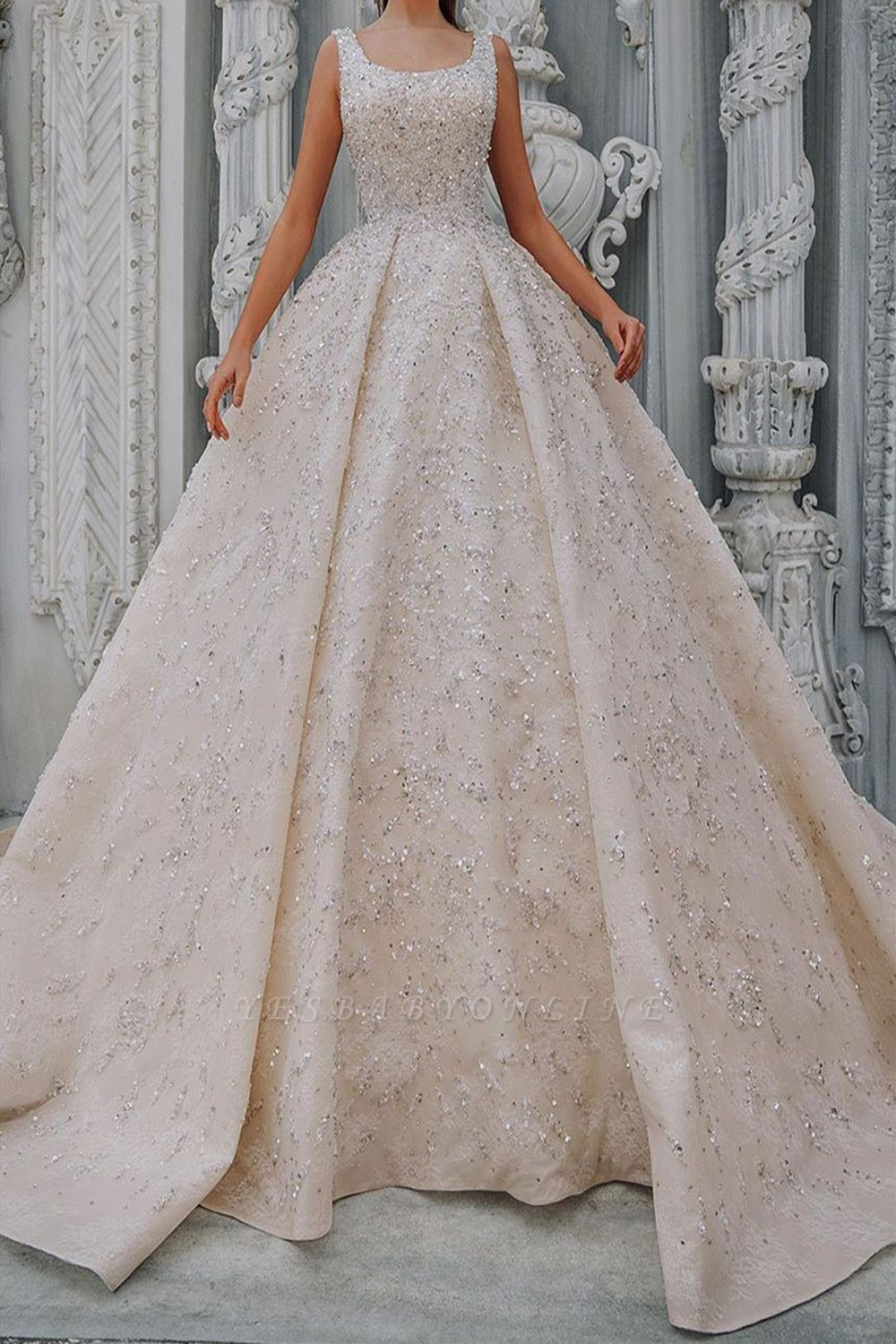 Luxury Off The Shoulder Nude Pink Satin Sequins Ruffles Ball Gown Wedding Dresses