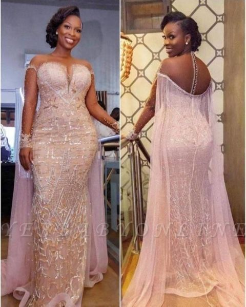 Sexy Mermaid Long Sleeves Prom Dress Beading Appliques Tulle Evening Gowns
