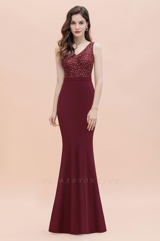 V-Neck Mermaid Evening Dress Sequins Chiffon Slim Party Dress