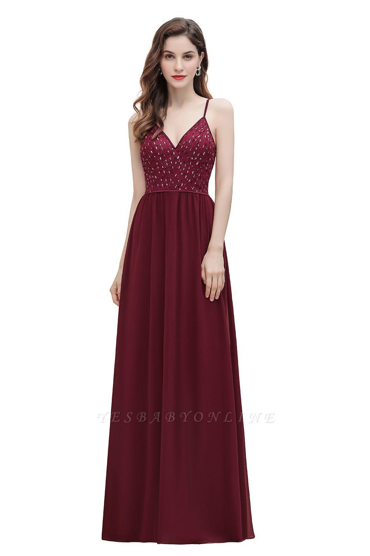 V-Neck Straps A-line Bridesmaid Dress Sequins Evening Dress