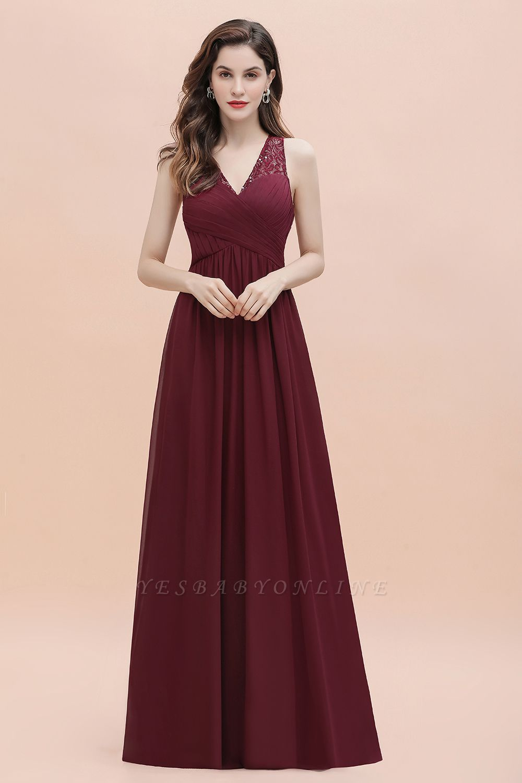 V-Neck A-line Chiffon Evening Maxi Dress Sleeveless Bridesmaid Wedding Guest Dress