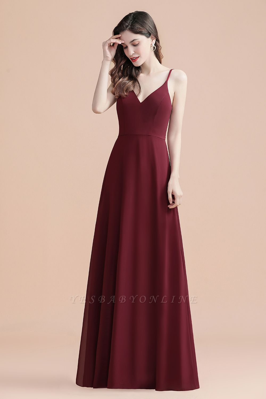 Elegant V-Neck Chiffon Evening Prom Dress for Women Straps Formal Maxi Dress