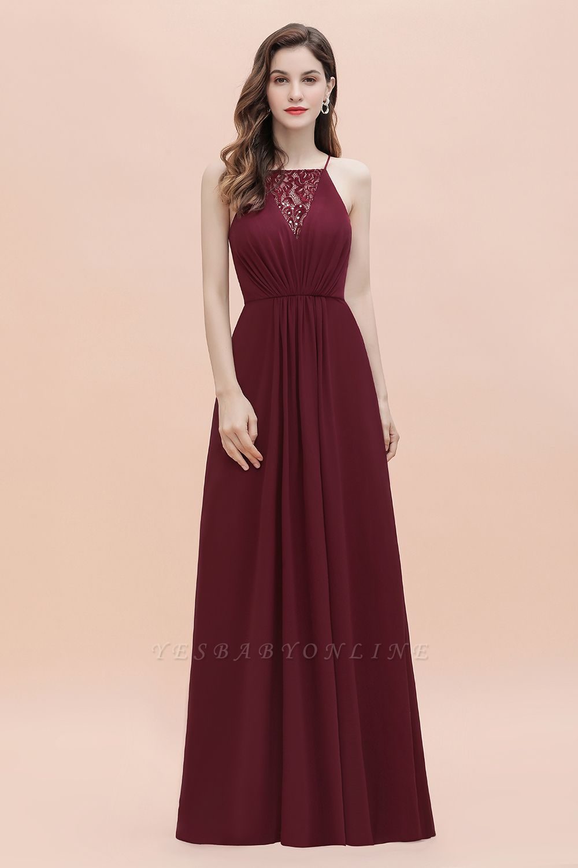 Straps Bateau A-line Sequins Evening Maxi Dress Elegant Chiffon Prom Dress