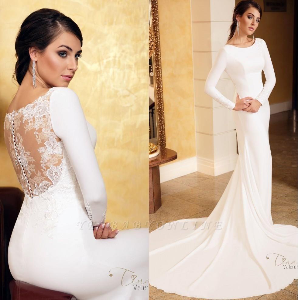 Jewel Long Sleeve Lace Mermaid Wedding Dresses | Floor Length Satin Wedding Gown