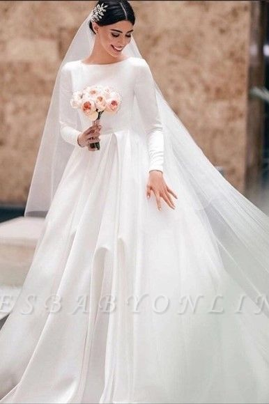 Elegant A-Line Jewel Satin Long Sleeves Wedding Dress