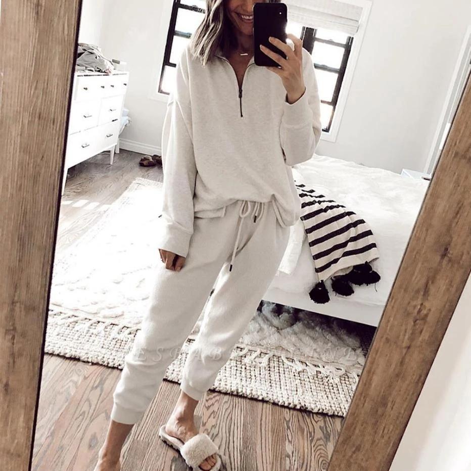 Women White Long Sleeves Pajamas V Neck