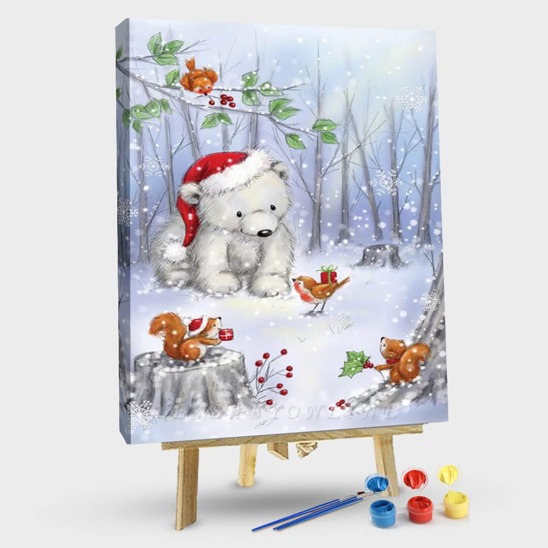 Paint By Numbers Kit-Polar Bear In Wood