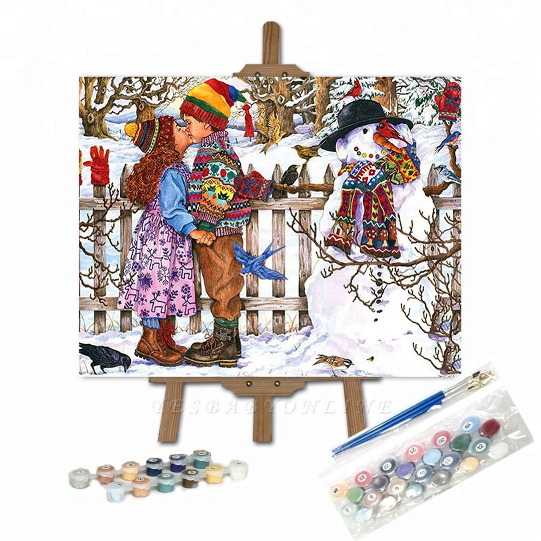 Paint By Numbers Kit-Love Snowman