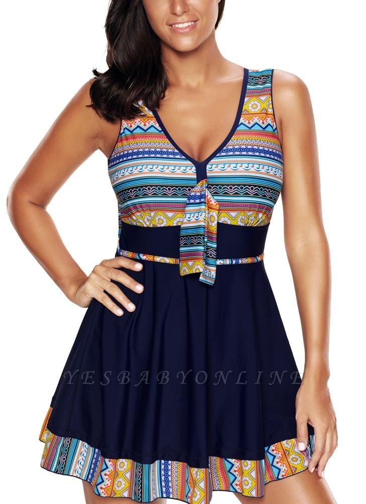 l Women Plus Size Tribal Print Tankini Swimsuit Push Up Skirted Swim Dress