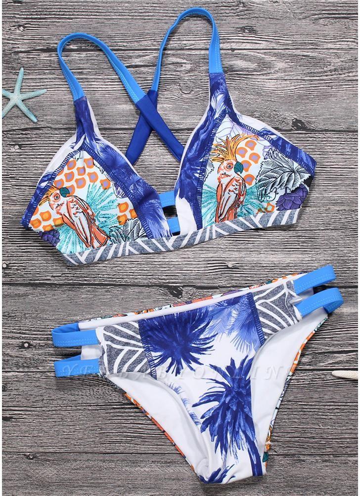 Sexy Women Brazilian Bikini Set Swimsuit Printed Swimwear Cut Out Bandage Padded Beach Wear Bathing Suit