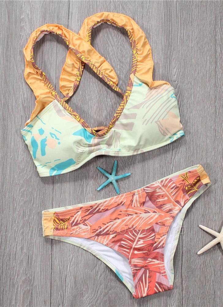 Sexy Women Bikini Set Spaghetti Strap Contrast Color Bandage Cross Lacing Padded Wireless Swimsuits Yellow