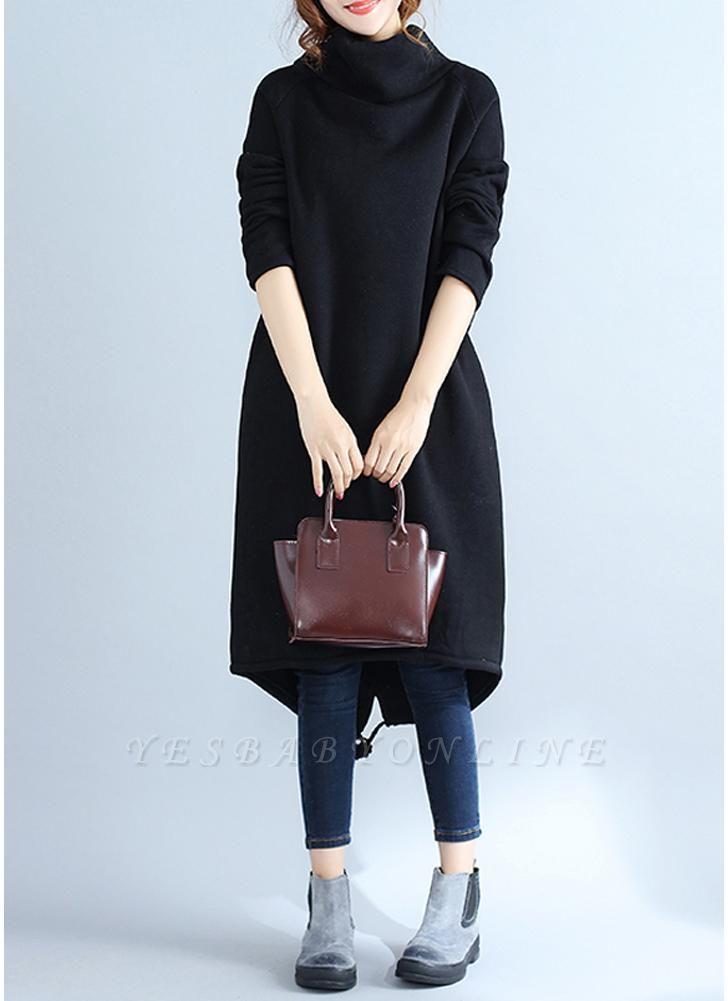 Fashion Women Casual Loose Turtleneck Solid Color Fleece Sweater Dress