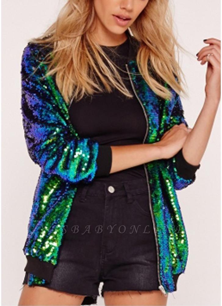 Fashion Women Sequins Coat Bomber Jacket Long Sleeve Zipper Streetwear Casual Loose Glitter Outerwear
