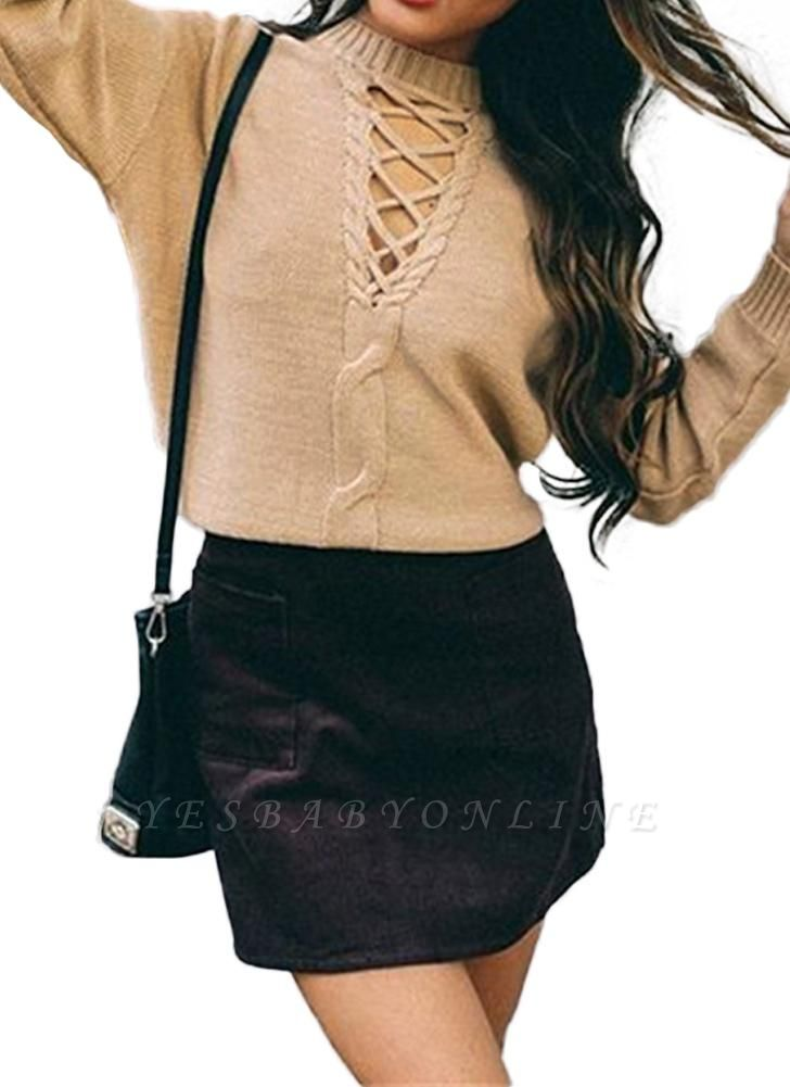 Knitted Hollow Out Pull Over Lace Up Dropped Shoulder Long Sleeve Sweater