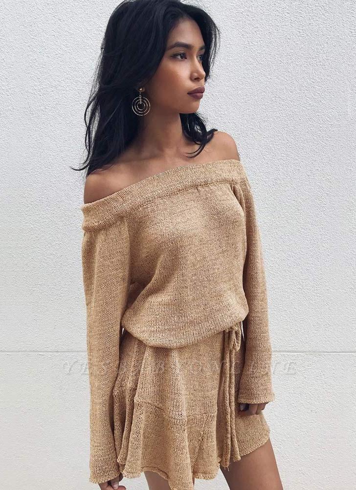 Shoulder Elegant Ruffle Sash Long Sleeve Women's Sweater Dress