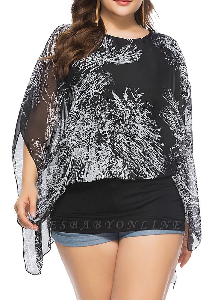 Women Plus Size Chiffon Tops Cold Shoulder Contrast Print Scarves Blouses Tees
