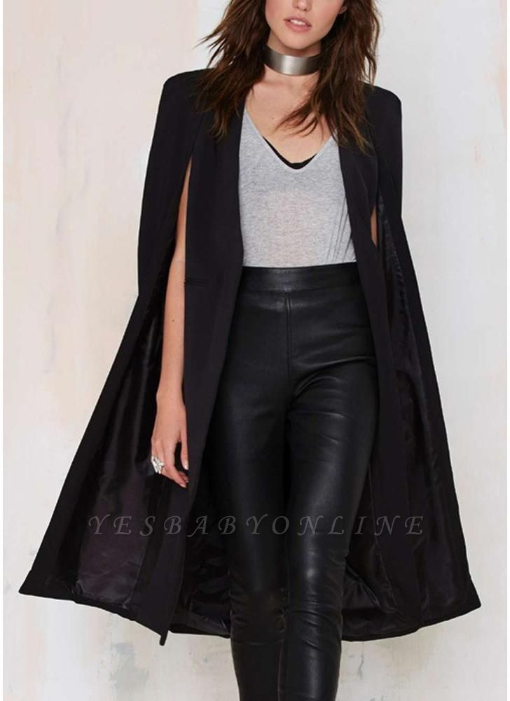 Autumn Women Long Cloak Blazer Coat Cape Cardigan Jacket Slim Office OL Suit Casual Solid Outerwear