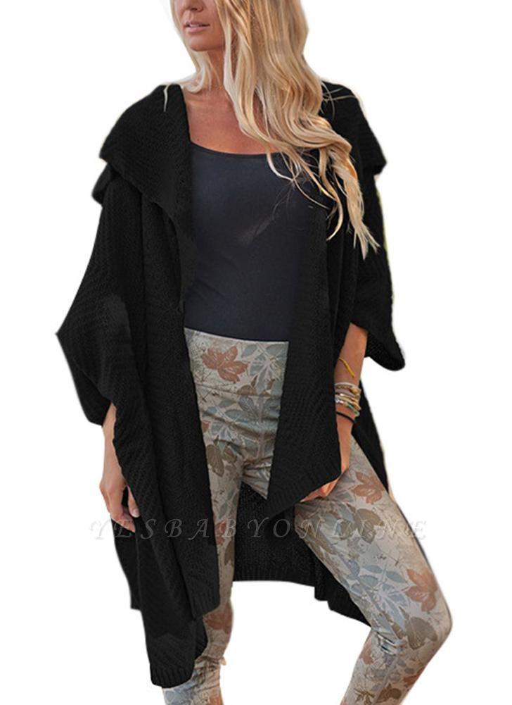 Women Loose Sweater Cardigan Open Front Batwing Sleeve Solid Split Knitted Outerwear