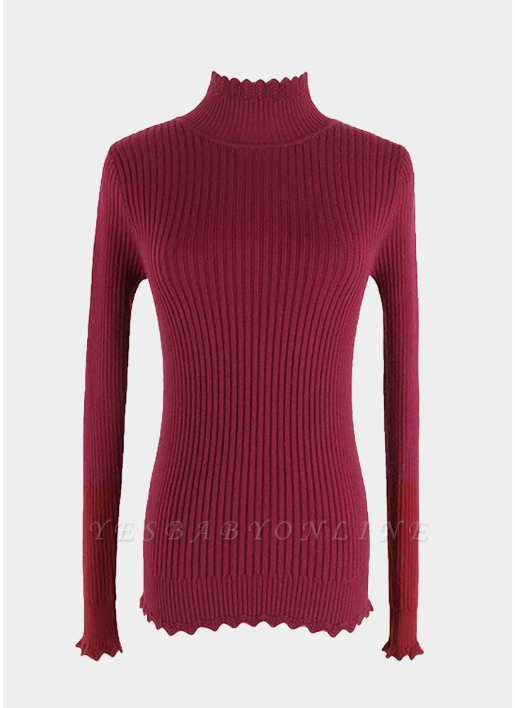 Women Basic Solid Turtleneck Knitted Sweater