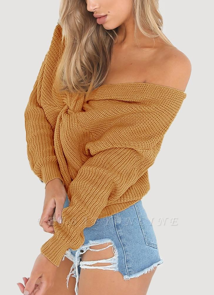 Women Loose Knitted Pullovers V Neck Back Bow Long Sleeves Dropped Shoulder Cross Casual Knit Jumper Top