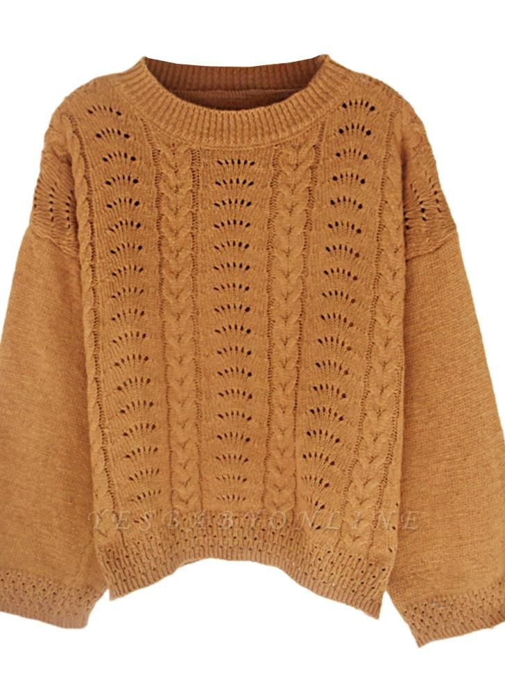 Women Loose Knitted Sweater O-Neck Long Sleeve Solid Warm Pullovers Top Knitwear