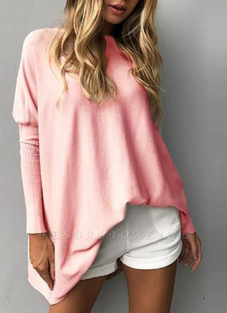 Loose Hoodies Solid O-Neck Batwing Long Sleeves Casual Soft Top Pullover