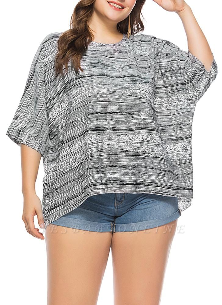 Women Plus Size Loose Blouse Striped Half Sleeves Elegant Top Pullover