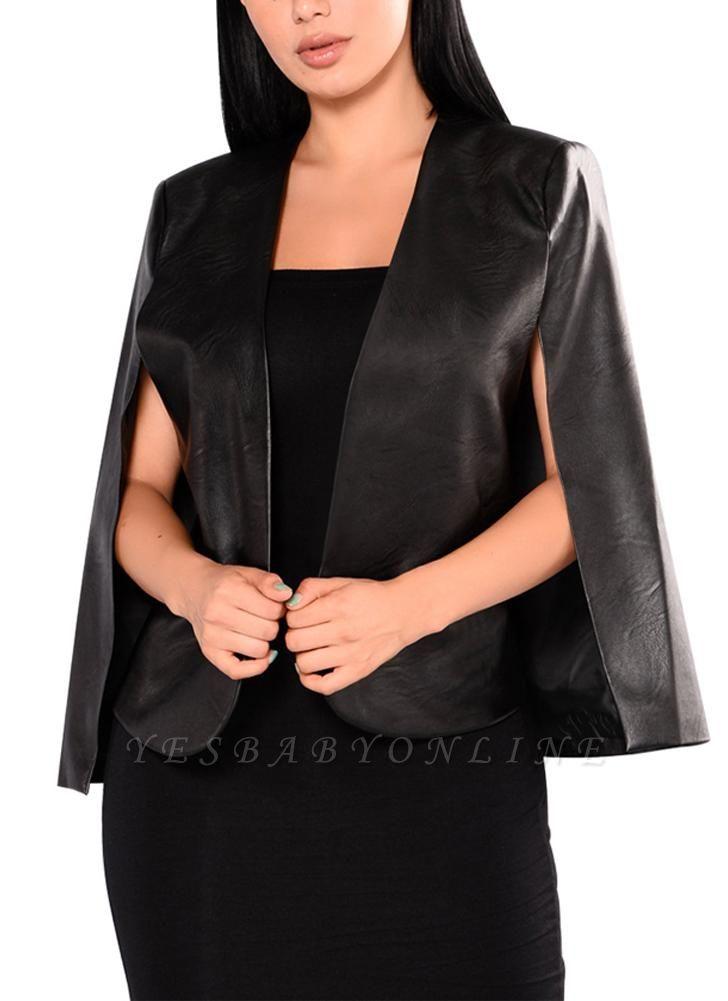 Fashion Women PU Leather Jacket Open Front Split Loose Cape Cloak Outerwear