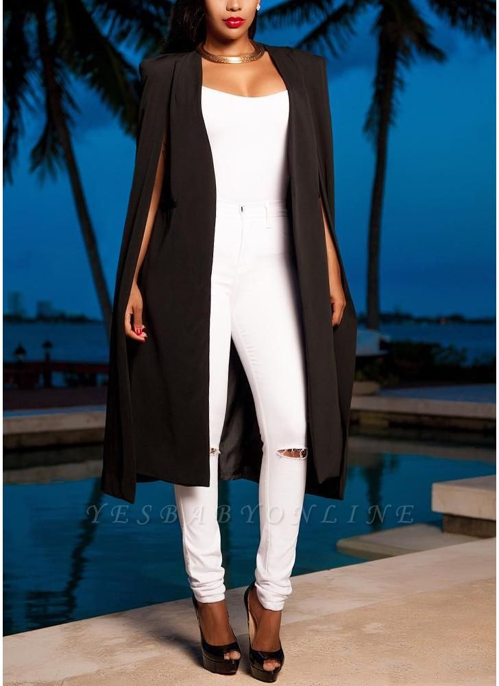 Fashion Women Cloak Cape Split Slim Office OL Suit Solid Long Blazer