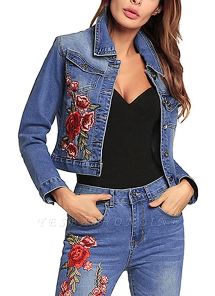 Embroidered Flower Turn-Down Collar Long Sleeve Denim Jacket