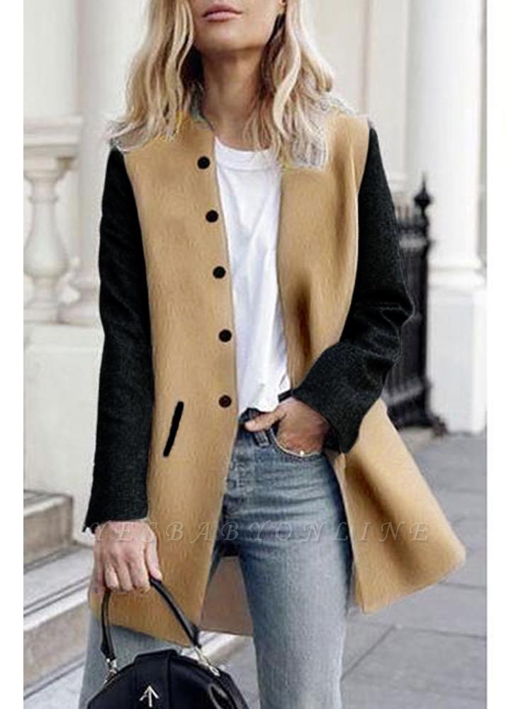 Women Winter Color Splice Long Sleeves Side Pockets Buttons Outerwear Coat