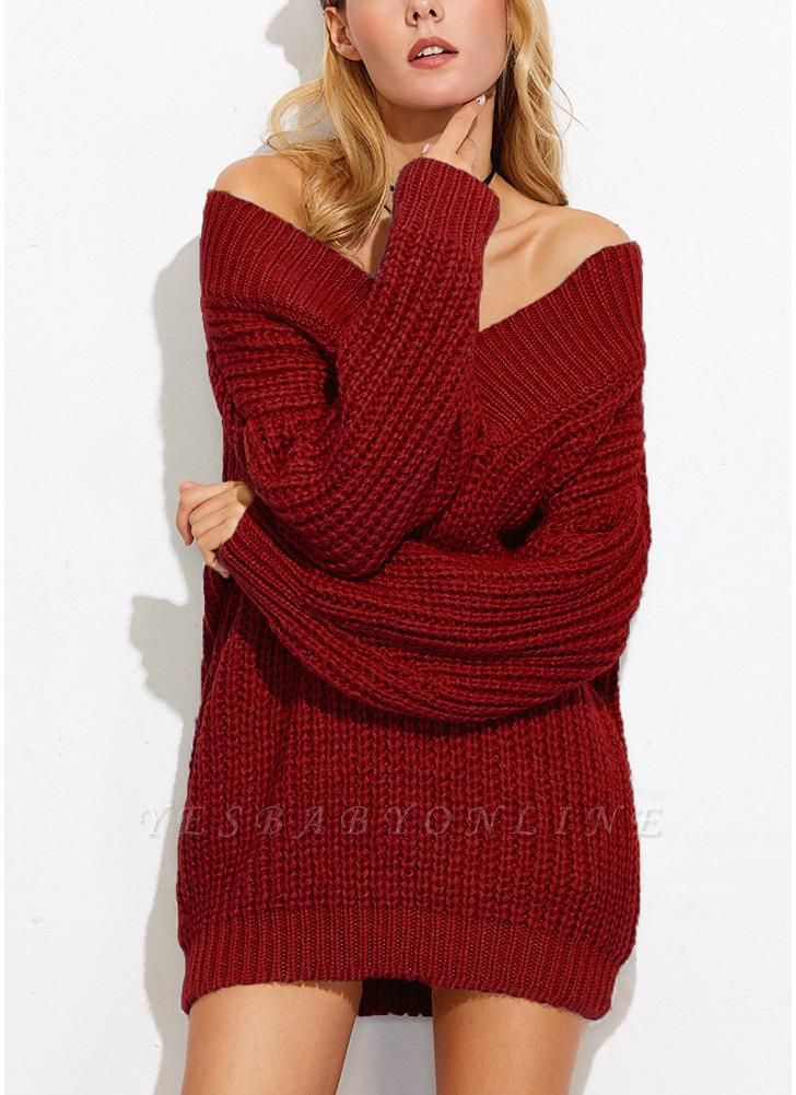 Sexy Women Off the Shoulder V Neck Chunky Knitwear