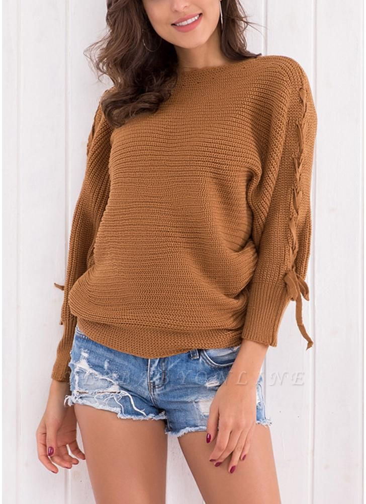 Knitted Sweater Long Sleeves Boat Neck Loose Jumper Bottoming Sweater Top