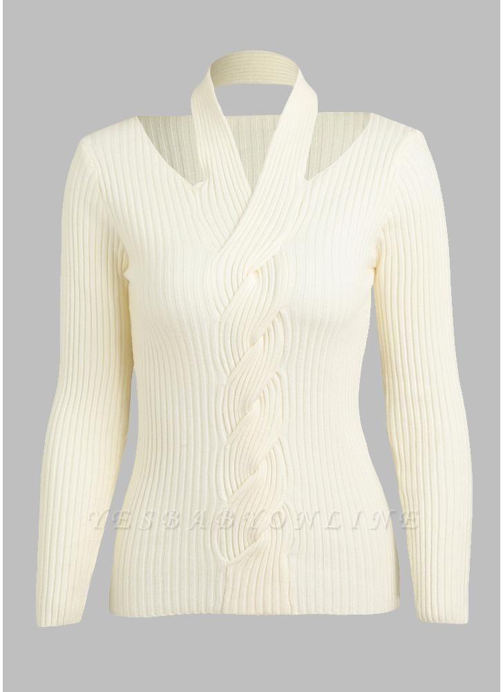Women Solid Knitted Sweater Rib Pullover Jumper Halter Neck Long Sleeve Twist Slim Knitwear Top