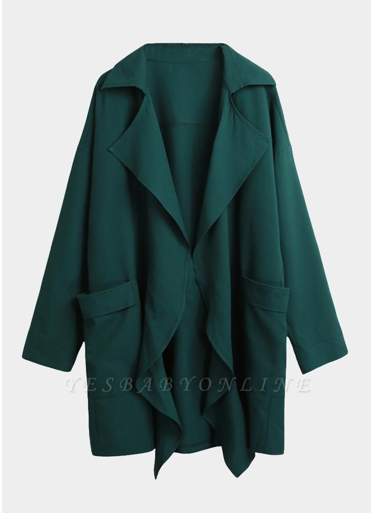 Women Fashion Lapel Solid Trench Coat