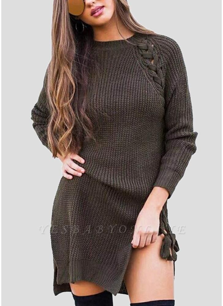 Sexy Winter Women Lace Up Knit Sweater O Neck Long Sleeve Split Knitted Pullover Jumper Knitwear