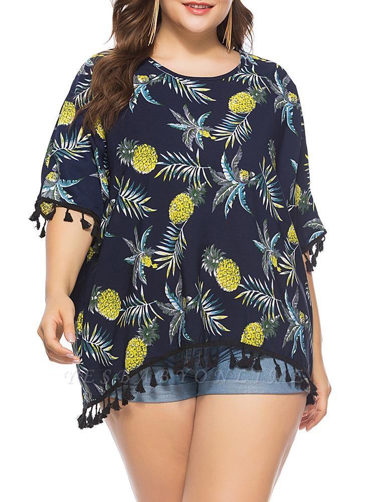 Women Plus Size Chiffon Blouse Pineapple Print Tassels Fringed Casual T-shirt Tops
