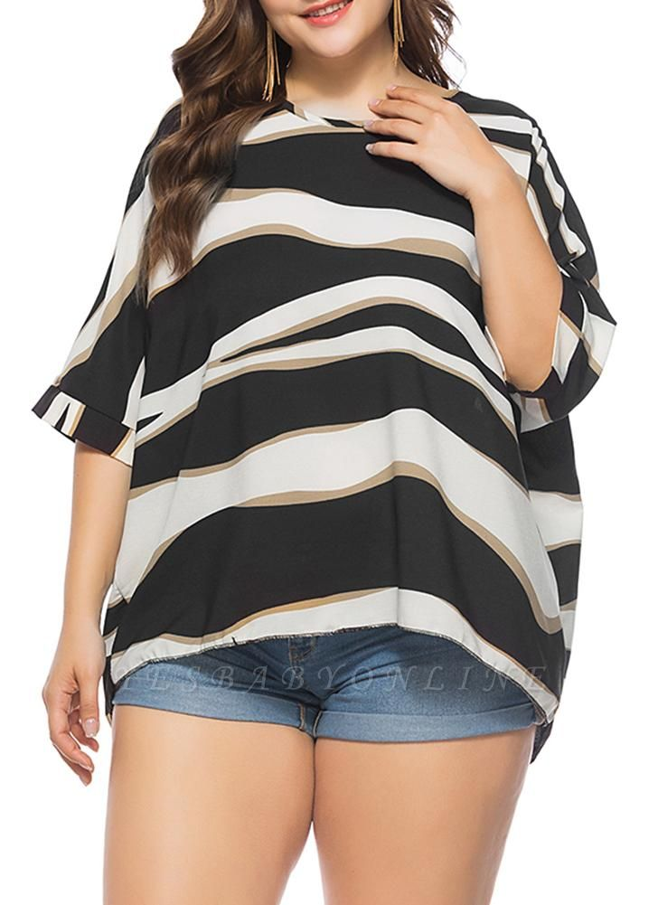 Women Plus Size Loose Blouse Striped Half Sleeves O-Neck Elegant Top Pullover