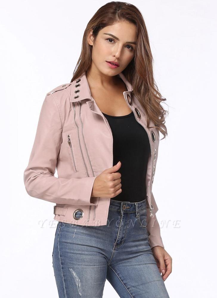 Fashion Hollow Out Leather Slim Hole Short Coat Women's Jacket