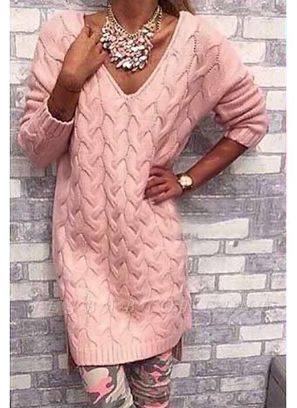 size V Neck High Low Cable Knit Sweater Dress