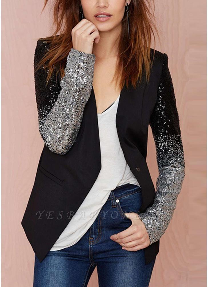 Women Blazer Coat Sparkling Sequin Long Sleeves Irregular Hem Elegant Outwear Jacket Business Suit