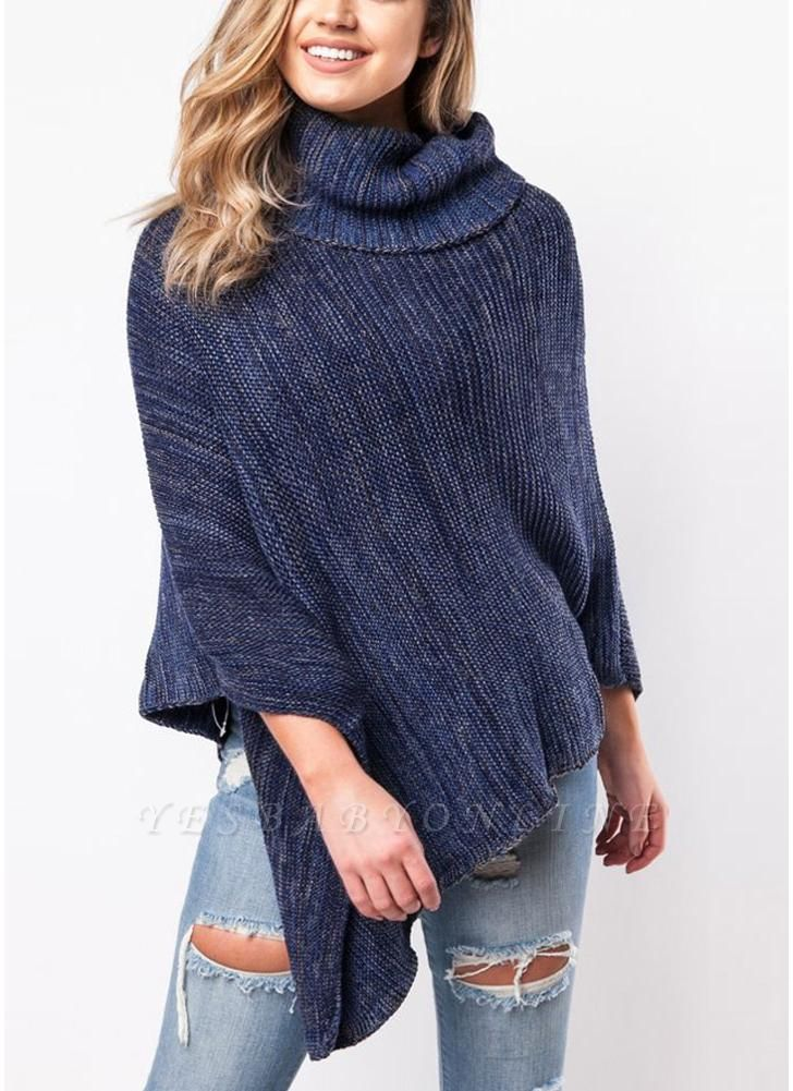 Sexy Women Cape Turtleneck Shawl Irregular Knitted Poncho