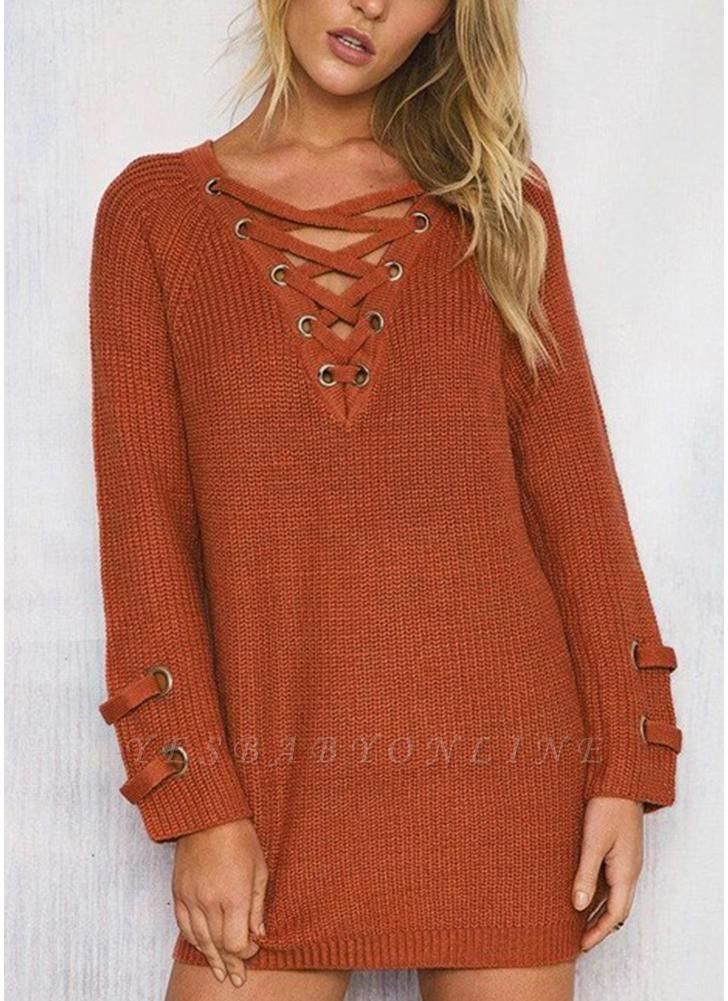 Neck Striped Bandage Cross Ties Knitted Sweater