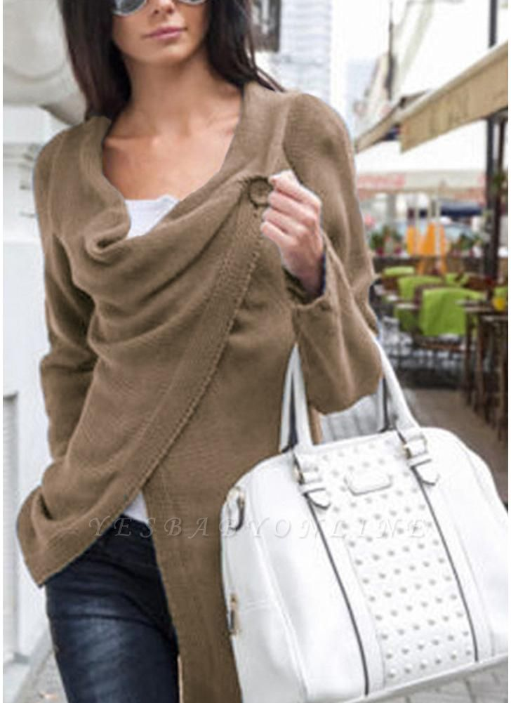 Knitwear Solid Color Asymmetric Long Roll Up Sleeve Women's Sweatershit