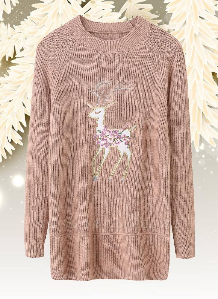 size Christmas Women Knitted Pullovers Long Sleeve Reindeer Embroidered Sweater