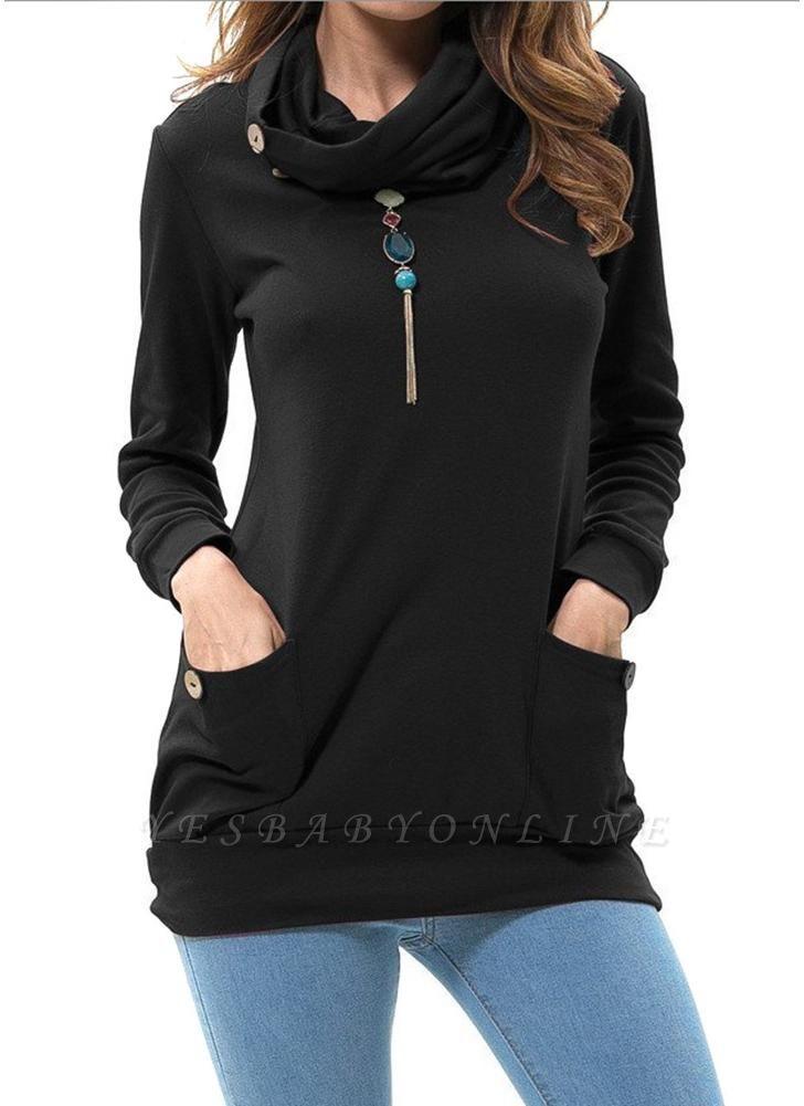 Women Sweatshirts Turtle Neck Pockets Pullover Long Loose Blouse Outwear Tops
