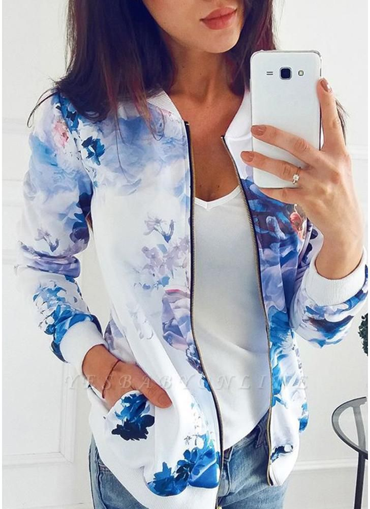 Floral Print Coats Long Sleeve Zipper Bomber Jacket Casual Top Streetwear
