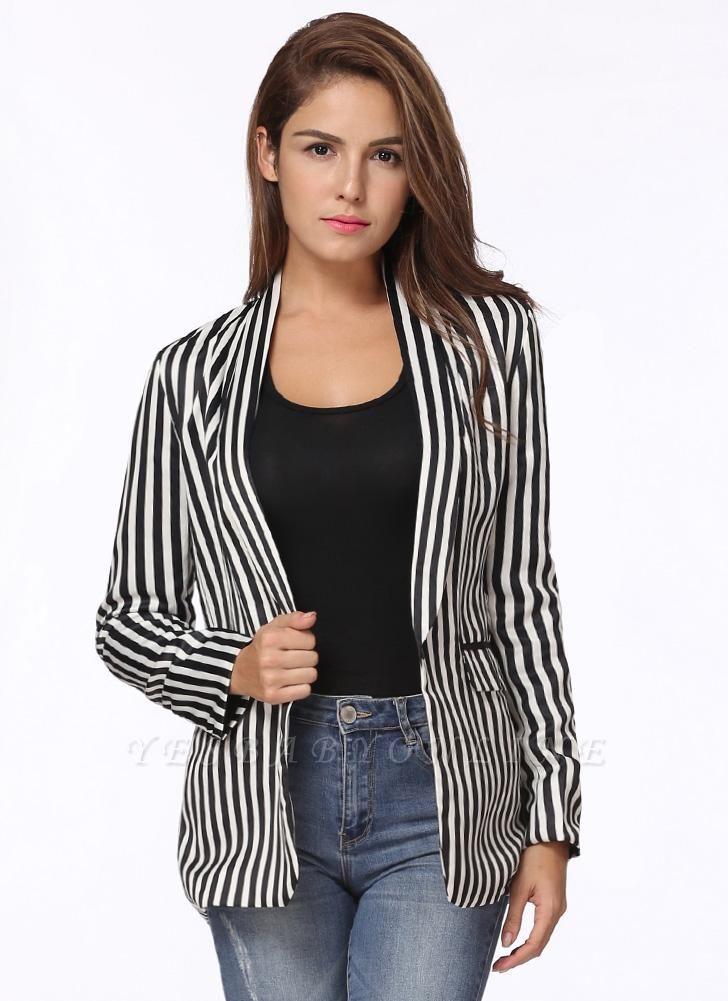 Fashion Contrast Stripes Pockets Long Sleeves Elegant Women's Coat