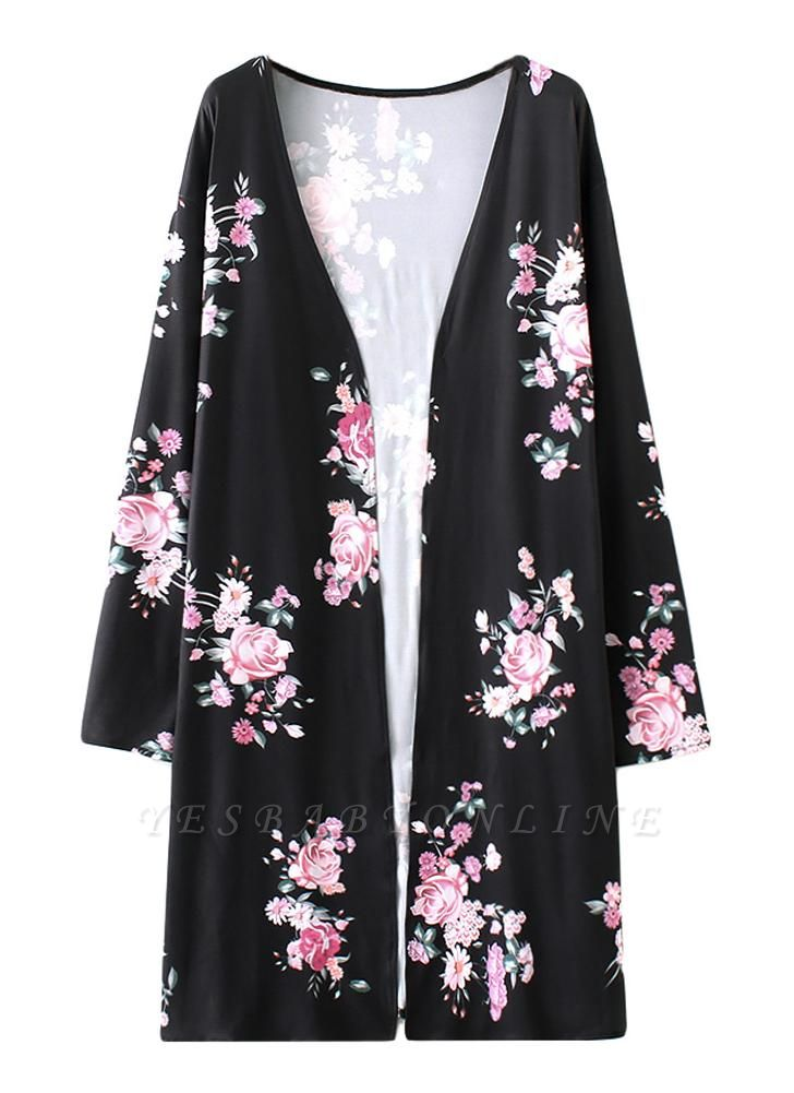Fashion Long Cardigan Front Floral Print Long Sleeves Women's Outerwear