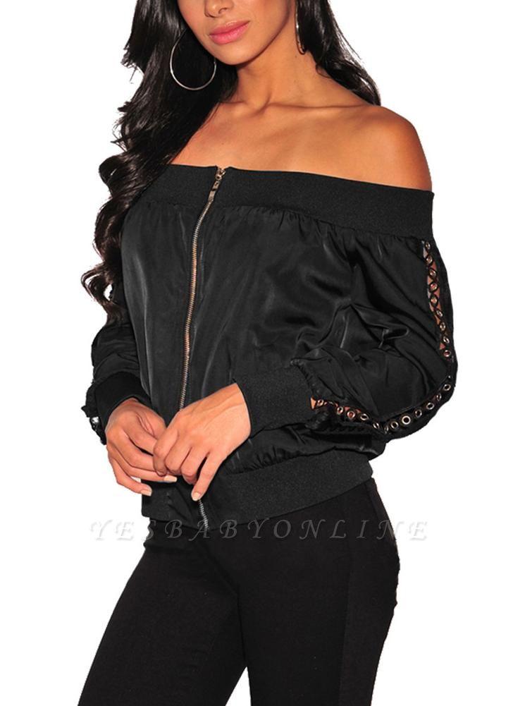 Women Off the Shoulder Satin Jacket Zipper Front Eyelet Hollow Out Coat